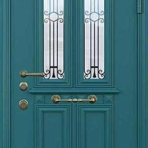 Дверь со стеклом и ковкой DR246