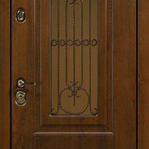 Дверь со стеклом и ковкой DR239